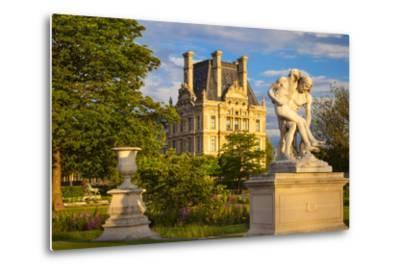 Statue in Jardin Des Tuileries with Musee Du Louvre Beyond, Paris, France-Brian Jannsen-Metal Print