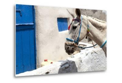 Donkey Waits at Cobbled Stairway, Santorini, Greece-David Noyes-Metal Print
