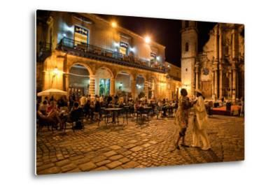 An Outdoor Restaurant and Salsa Dancers on the Cobble Stoned Plaza Catedral in Old Havana-Dmitri Alexander-Metal Print