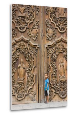 Boy by Entrance to Manila Metropolitan Cathedral, Manila, Philippines-Keren Su-Metal Print