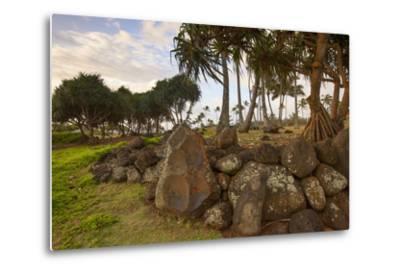Hikina'akala Heiau, Wailua River State Park, Kauai, Hawaii, USA-Douglas Peebles-Metal Print