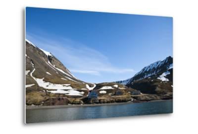 An Old Settlement Nestled Among Cliffs Near Longyearbyen on the Bay of Adventfjorden-Sergio Pitamitz-Metal Print