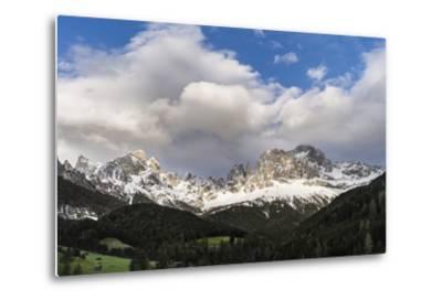 Rosengarten or Catinaccio Mountains, Schlern-Rosengarten, Dolomites, Italy-Martin Zwick-Metal Print
