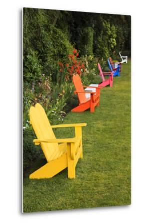 Garden Bench, Schreiner's Iris Gardens, Keizer, Oregon, USA-Rick A^ Brown-Metal Print