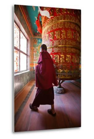 A Monk Spins the Worlds Largest Prayer Wheel Near Boudhanath Stupa-Ben Horton-Metal Print