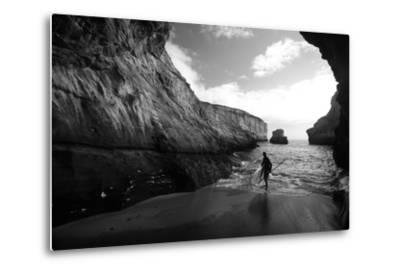 A Stand Up Paddleboarder on the Rough Coastline North of Santa Cruz-Ben Horton-Metal Print