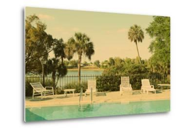 Retro Summer Swimming Pool with Empty Lounge Chairs-Jena Ardell-Metal Print