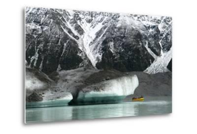 Raft on the Tasman Glacier Terminal Lake, South Island, New Zealand-David Noyes-Metal Print