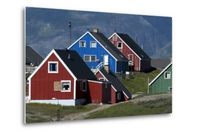 The Colorful Cottages of the Town Narsaq, Greenland-David Noyes-Metal Print