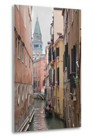Gondoliers in Back Canal of Venice, Italy-Terry Eggers-Metal Print