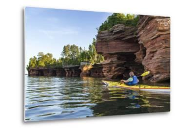 Kayaker in Sea Caves, Devils Island, Apostle Islands National Lakeshore, Wisconsin, USA-Chuck Haney-Metal Print