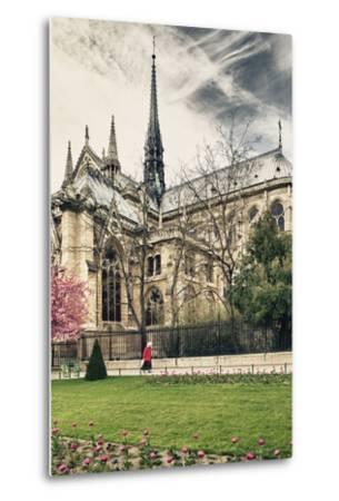 A nun - Notre Dame Cathedral - Paris - France-Philippe Hugonnard-Metal Print