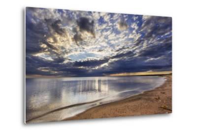 Sun Breaks Cloudy Morning, Superior Point, Lake Superior, Wisconsin, USA-Chuck Haney-Metal Print