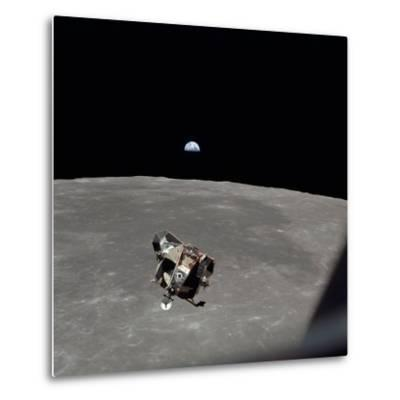 The Apollo 11 Lunar Module Ascending from Moon's Surface, July 20, 1969--Metal Print