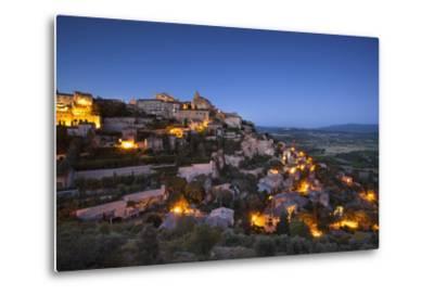 Twilight over Medieval Village of Gordes, Provence, France-Brian Jannsen-Metal Print