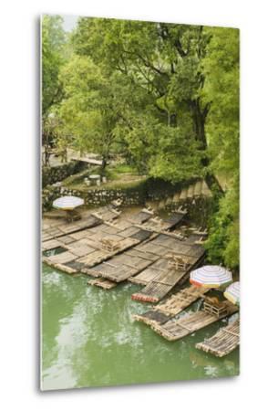 Bamboo Rafts Dock by Stone Stairs on the Li River Near Yangshuo, China-Jonathan Kingston-Metal Print