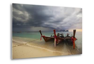 Thai Fishing Boats Beached on Phi Phi Island During a Storm-Alex Saberi-Metal Print