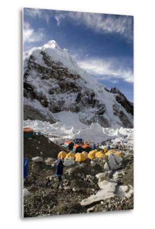 Tents of Mountaineers Scattered Along Khumbu Glacier, Base Camp, Mt Everest, Nepal-David Noyes-Metal Print
