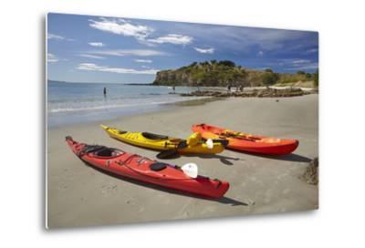 Kayaks, Doctors Point, Mapoutahi Pa, Maori Pa Site, South Island, New Zealand-David Wall-Metal Print