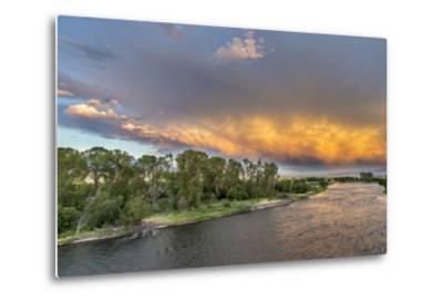 Incredible Stormy Light on the Madison River at Sunset Near Ennis, Montana, USA-Chuck Haney-Metal Print