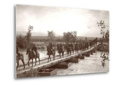 Londoner's Bridge across the The Jordan River with Mounted Anzac Troops Crossing, C.1917-18-Capt. Arthur Rhodes-Metal Print