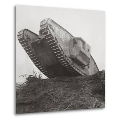 A Tank Leads the Infantry into Action and Breaks Down the Wire Entanglements-English Photographer-Metal Print