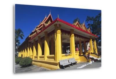 The Buddhist Wat Mixai Temple in Vientiane--Metal Print