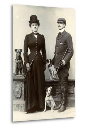 Portrait of a Couple with Dogs--Metal Print