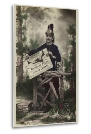 French Soldier, Holding Telegram--Metal Print