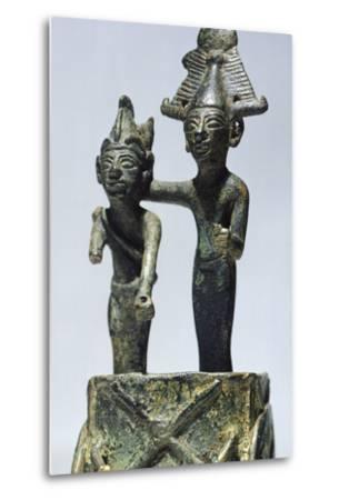 Two Figures on Cart, Bronze Artifact from Tortosa--Metal Print