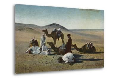 Arabs Praying in the Desert--Metal Print