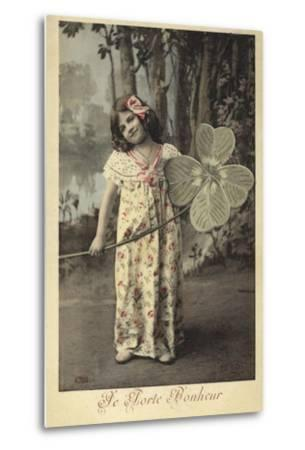 Young Girl Holding Giant Four-Leaf Clover--Metal Print