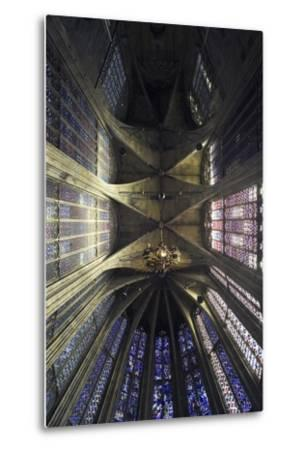 Ceiling and Stained Glass, Aachen Cathedral--Metal Print