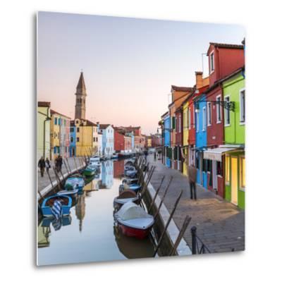 Italy, Veneto, Venice, Burano. Sunset in the Town-Matteo Colombo-Metal Print