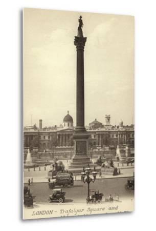 London, Trafalgar Square and Nelson's Monument--Metal Print