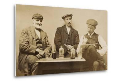 Three Working Men Enjoying a Drink--Metal Print