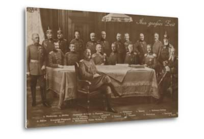Kaiser Wilhelm II with His War Council, 1914--Metal Print