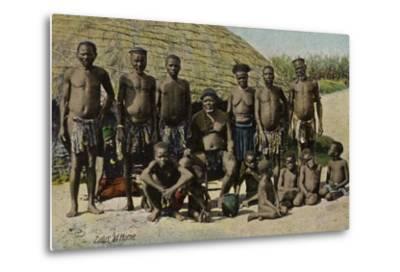 Postcard Depicting Zulus at Home--Metal Print
