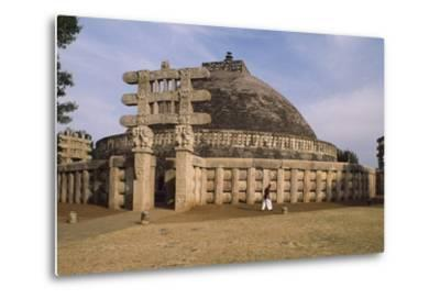 West Gate of the Stupa I in Sanchi--Metal Print