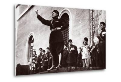 Mussolini Making a Speech--Metal Print