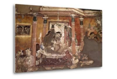 India, Fresco in Ajanta Caves--Metal Print