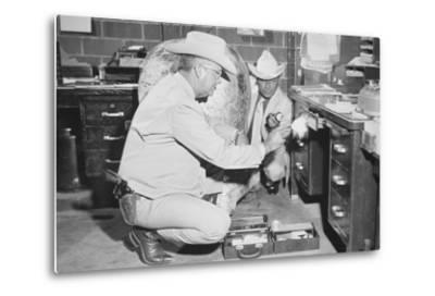 Texas Rangers Investigating a Crime Scene, C.1970--Metal Print