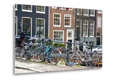 Bikes on Lijnbaansbrug Bridge, Amsterdam, the Netherlands--Metal Print