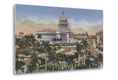 Parque De La Fraternidad Y Capitolio, Fraternity Square and Capitol--Metal Print
