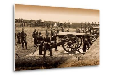 1st Connecticut Heavy Artillery Manning Guns in Fort Richardson, Late 1861--Metal Print