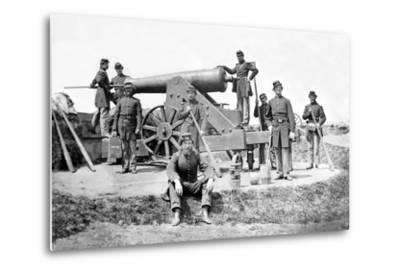 New York Artillerymen with a Heavy Gun in Fort Corcoran, Spring 1862--Metal Print