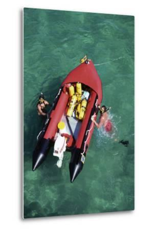 Couple Snorkeling Off their Dinghy in Biscayne Bay, C.1990--Metal Print