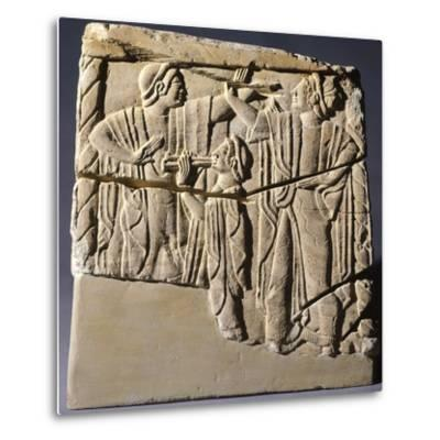 Cinerary Urn with Dancers and Performers, Artifact from Chiusi--Metal Print