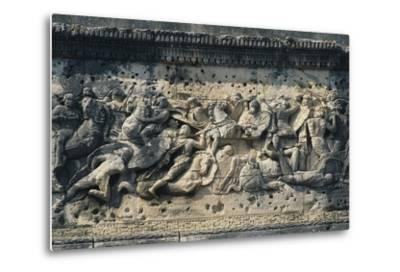 Battle Scene Between the Gauls and Romans, Relief from the Arch of Triumph in Orange--Metal Print