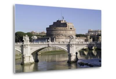 Vittorio Bridge over Tiber with Castel Sant'Angelo in Background, Rome--Metal Print